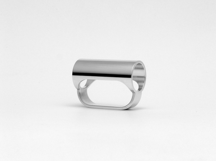 Double finger ring, sterling silver